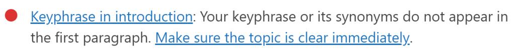 WordPress Yoast SEO 分析 - Keyphrase in introduction 紅燈