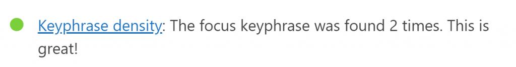 WordPress Yoast SEO 分析 - Keyphrase density 綠燈